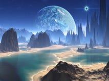 Aumento del pianeta sopra il mondo straniero della spiaggia illustrazione vettoriale