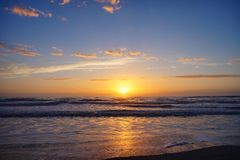 Aumento del sole della spiaggia di Jacksonville Fotografie Stock Libere da Diritti