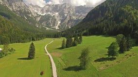 Aumento della macchina fotografica sopra la bella strada della montagna in Slovenia ad estate archivi video