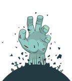 Aumento della mano dello zombie di vettore dalla tomba Fotografia Stock