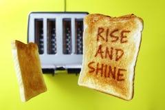 Aumento di buongiorno e pane tostato lustro immagine stock libera da diritti