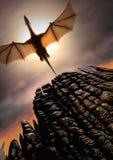 Aumento di Dragon Digital Painting nero Fotografia Stock