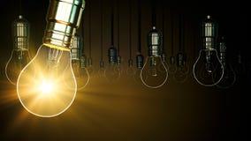 Aumento di incandescenza dell'oscillazione della lampadina Fotografia Stock