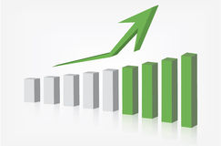 Aumento di rappresentazione del grafico Immagini Stock