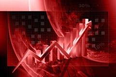 aumento di rappresentazione del grafico 3d nei profitti o nei guadagni Immagine Stock