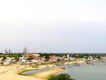 Aumento di Sun in Manapad, Tamilnadu Fotografie Stock