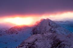 Aumento di Sun Snowdon 2010 fotografie stock