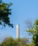 Aumento industriale del fumaiolo dietro gli alberi Immagini Stock