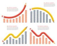 Aumento, recessione, crescita, declino, riduzione, affare di successo royalty illustrazione gratis