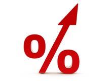 aumento rosso delle percentuali 3d Immagini Stock