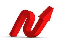 Aumento rosso sulla freccia rossa su fondo bianco Fotografie Stock
