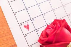 aumentou no calendário com a data da Dinamarca do Valentim do 14 de fevereiro Foto de Stock Royalty Free