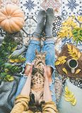 Female sitting on tiled floor and holding cat, top view. Aun or Fall balcony tea . Flat-lay of female sitting on colorful tiled floor with tiger colored cat stock photos