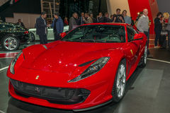 Aunch of the 812 Superfast at the Scuderia Ferrari stand at the Geneva International Motor Show. GENEVA, SWITZERLAND - MARCH 8, 2017:  Launch of the 812 Royalty Free Stock Photography