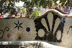Aune de ¼ de gà de parc de mosaïque à Barcelone Photos libres de droits