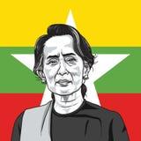 Aung San Suu Kyi op Myanmar Vlagachtergrond De Vector van de portretillustratie 14 september, 2017 Royalty-vrije Stock Fotografie