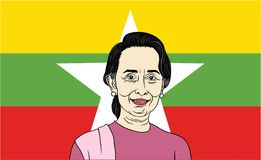 Aung San Suu Kyi, President of Myanmar with Flag Background. Aung San Suu Kyi, President of Myanmar with Flag Background, Editorial Royalty Free Stock Photos