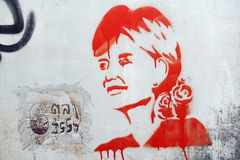 Aung San Suu Kyi Stencil Graffiti Fotografia de Stock