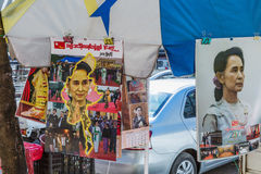 Aungsan Suu Kyi kalenders Yangon in Myanmar Stock Fotografie
