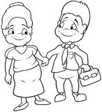 Aunt and Uncle. Black and White Cartoon illustration, Vector Royalty Free Stock Photos