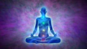 Aura, ativação do chakra, iluminação da mente na meditação ilustração do vetor