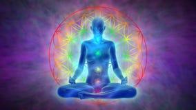 Aura, ativação do chakra, iluminação da mente na meditação, flor do símbolo da vida ilustração royalty free
