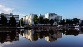 Aura calme de rivière à Turku photographie stock libre de droits