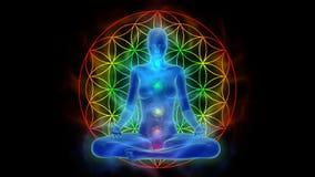 Aura, chakra aktywacja, enlightenment umysł w medytaci, symbolu życie kwiat royalty ilustracja