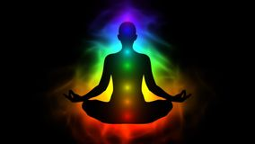 Aura, chakra, enlightenment of mind in meditation. Animation of aura, chakra, enlightenment of mind in meditation
