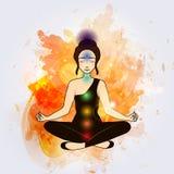 Aura and chakra, meditation. Stock Photo