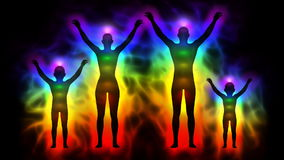 Aura and chakras - silhouette of family. Animation silhouette of family with aura and chakras royalty free illustration