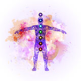Aura and chakras. Vector illustration concept Aura and chakras stock illustration