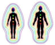 Aura and chakras on white background - vector Stock Image