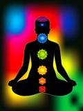 Aura colorida com todos os chakras do corpo Fotos de Stock Royalty Free