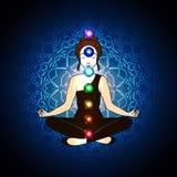 Aura e chakra, meditazione illustrazione vettoriale