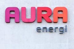 Aura Energi-Logo auf einer Wand Lizenzfreies Stockbild
