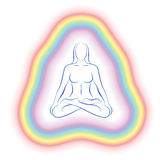 Aura Meditation Subtle Body Woman. Aura or subtle body of a meditating woman in yoga position. Vector illustration on white background.n Stock Photos
