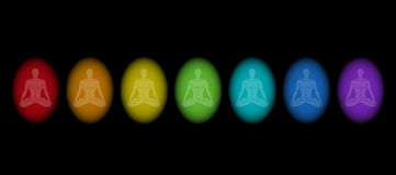 Aura Men Black. Various aura colors of a man while meditating in yoga position. Isolated vector illustration on black background royalty free illustration