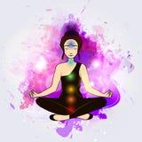 Aura und chakra, Meditation lizenzfreie abbildung
