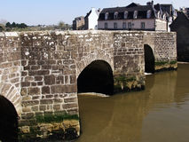 Auray. France brittany morbihan auray banks of the loch or auray river old town- medieval bridge over the river st goustan Royalty Free Stock Image
