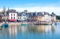 Landscapes and architectures of Brittany. Auray, France - August 7, 2017: The ancient houses around the Saint Goustan harbor in the centre of the village Stock Images