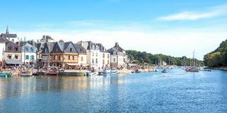 Landscapes and architectures of Brittany. Auray, France - August 7, 2017: The ancient houses around the Saint Goustan harbor in the centre of the village Stock Photography