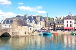Landscapes and architectures of Brittany. Auray, France - August 7, 2017: The ancient houses around the Saint Goustan harbor in the centre of the village Royalty Free Stock Photography