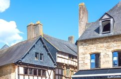 Landscapes and architectures of Brittany. Auray, France - August 7, 2017: Detail of the ancient houses around the Saint Goustan harbor in the centre of the Stock Image
