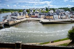 Auray - Port of Saint-Goustan. Panoramic view of the old city centre. Brittany, France stock images