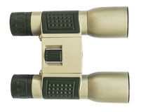 Aureate binoculars on white background Royalty Free Stock Images