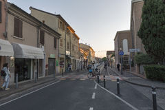 Aurelio Saffi old street in Rimini, Italy. Royalty Free Stock Photos