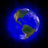 Aureola azul de la tierra - América Imagenes de archivo