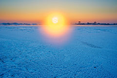 The aureole sunrise. The photo was taken in Wusong island Ulla manchu town Longtan district Jilin city Liaoning provence,China royalty free stock photo