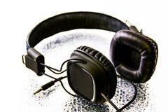 Auricular negro Imagenes de archivo